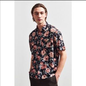 Urban Outfitters Wandering Rose Rayon Button Down